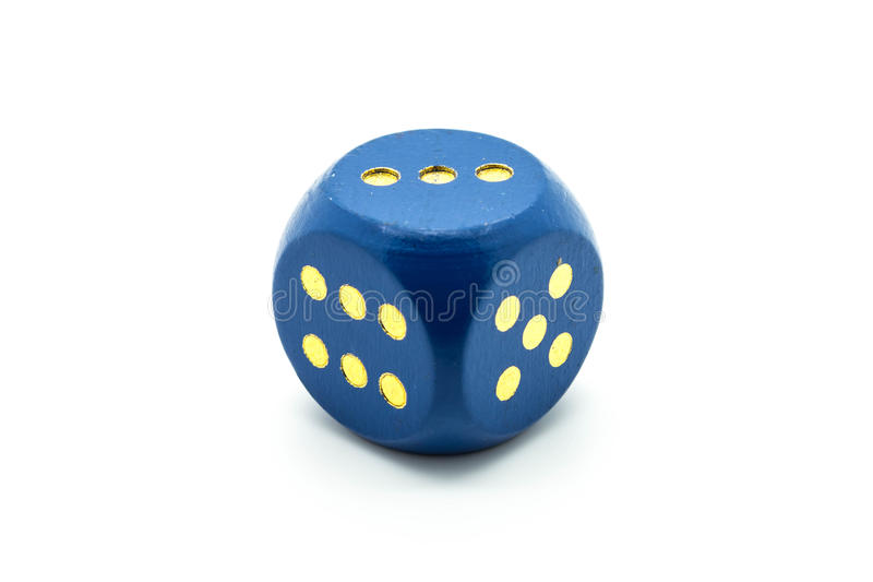 Wooden Blue Dice on White Background royalty free stock photography