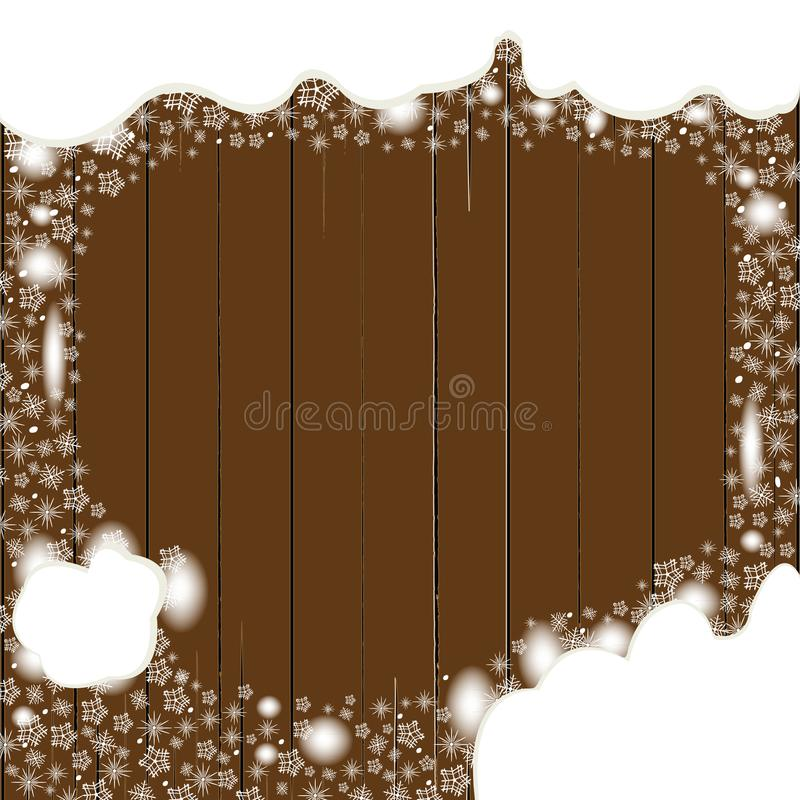 Wooden board background with snowflakes and snow for cold season announcements vector illustration