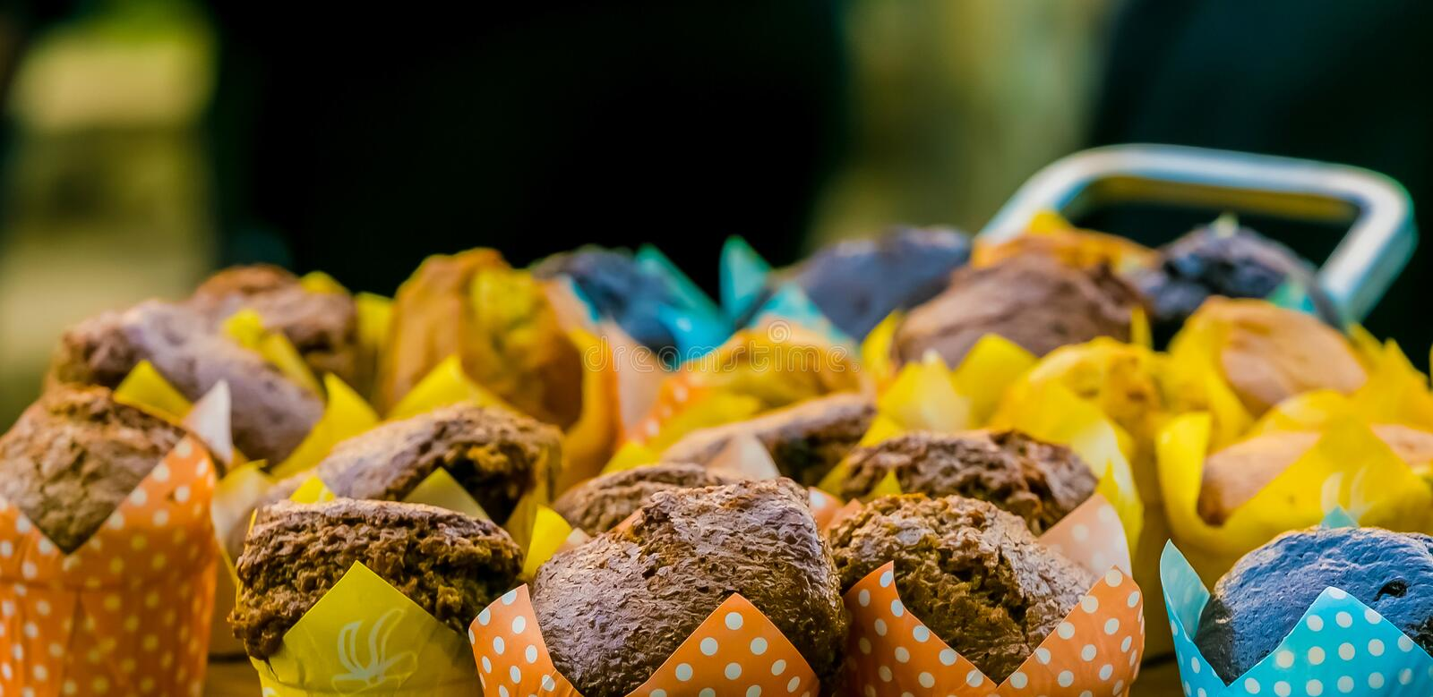 Board of breakfast muffins for catering. Wooden board of breakfast muffins for catering at corporate breakfast event stock image