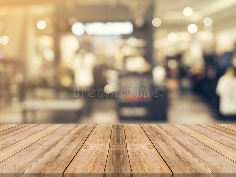 Wooden board empty table blurred background. Perspective brown w royalty free stock photos