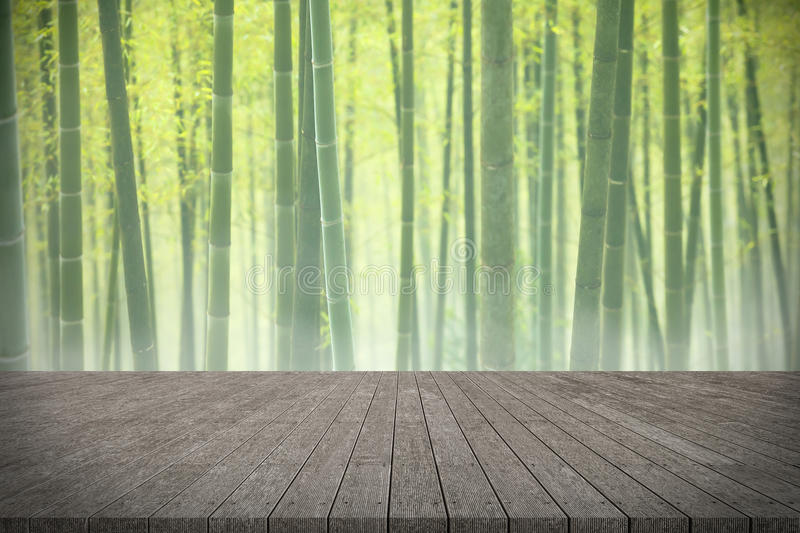 Wooden board empty table in front of bamboo forest background. stock image