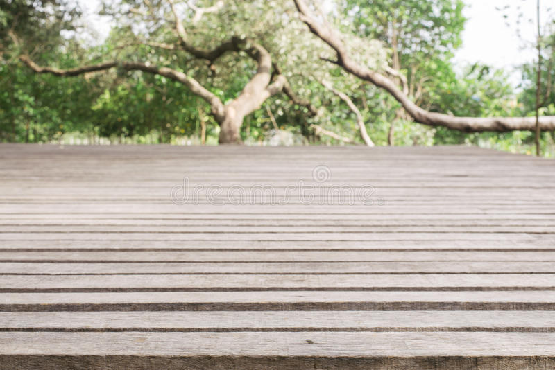 Wooden board empty table in front of blurred background. Perspective grey wood over blur trees in forest - can be used for. Display or montage your products stock image