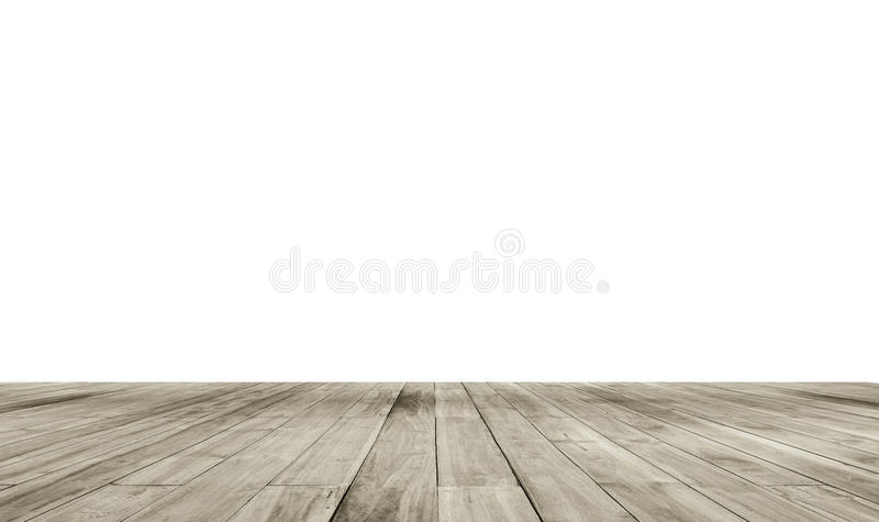Wooden board empty table in front of isolate white background. Perspective brown wood over white background royalty free stock images