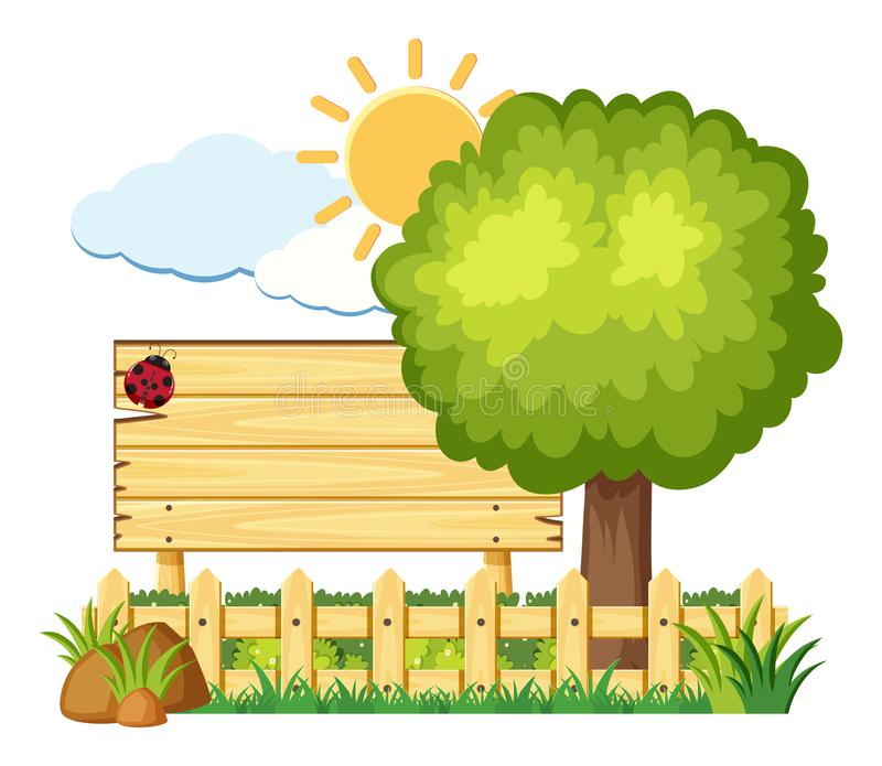 Download Wooden Board With Ladybug In Garden Stock Vector   Illustration Of  Blank, Tree: