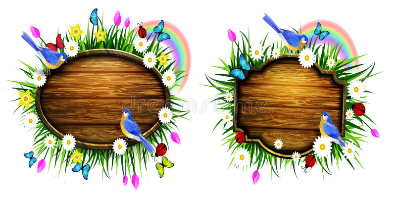 Wooden board on a llawn. Spring wooden board on lawn with flowers blue butterflyes and ladybug bluebirds vector set stock illustration