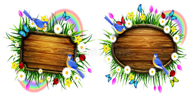 Wooden board on a llawn. Spring wooden board on lawn with flowers blue butterflyes and ladybug bluebirds vector set royalty free illustration