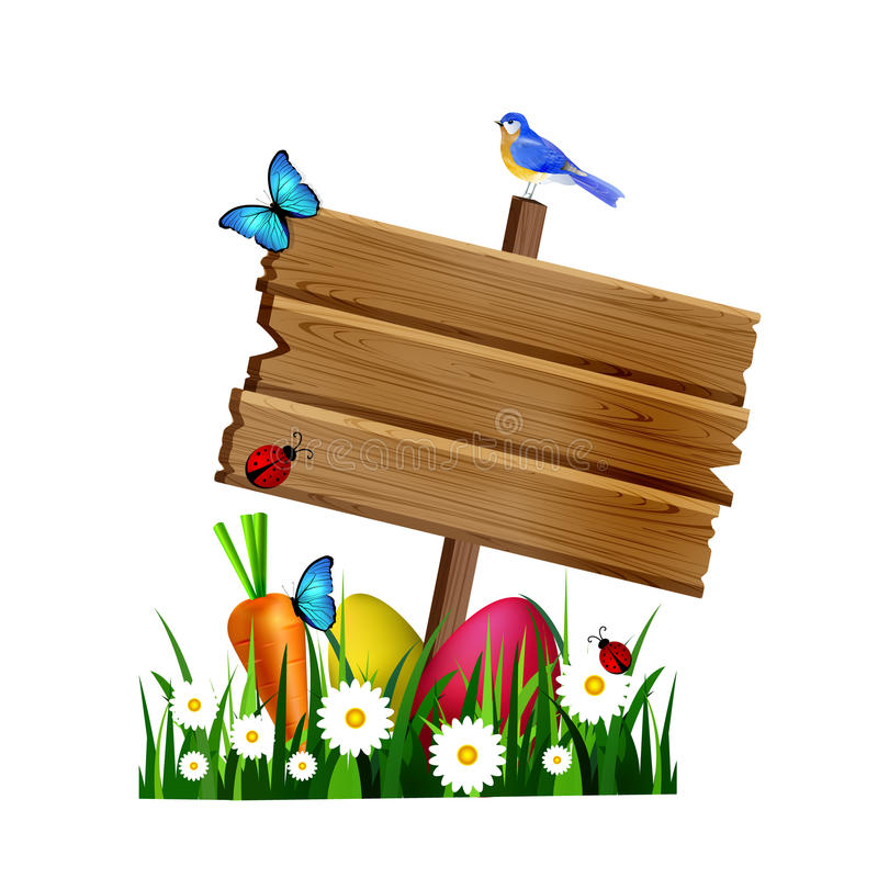 Wooden board on a lown. Egg hunt wooden board on a lawn with flowers eggs carrot and butterfly and ladybugs birds vector vector illustration