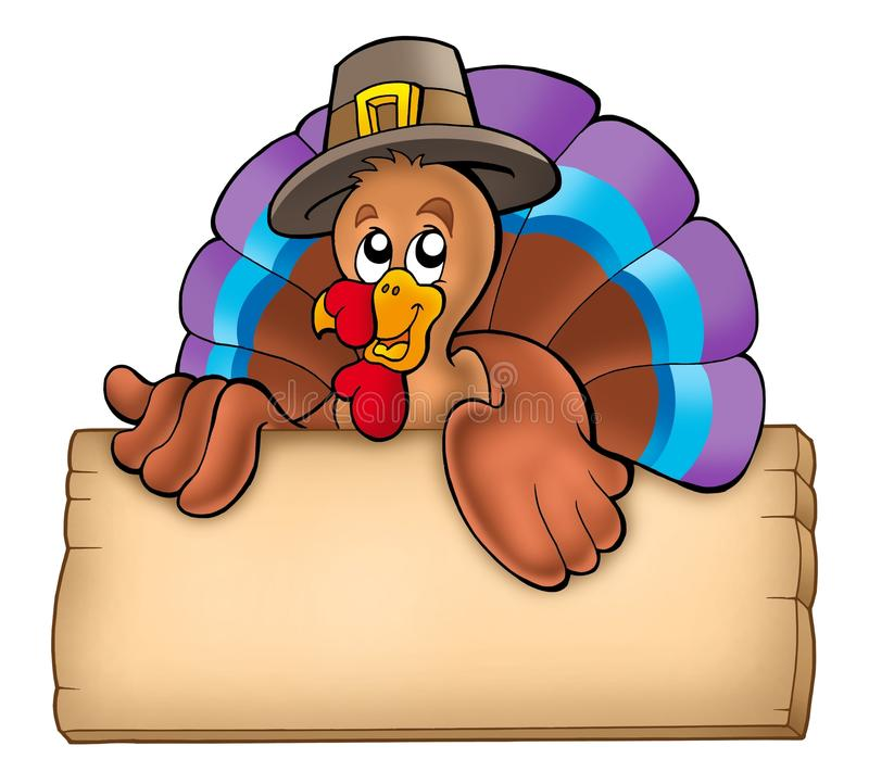 Wooden board with lurking turkey. Color illustration
