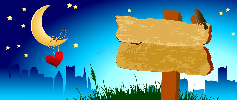 Wooden board, night town vector illustration