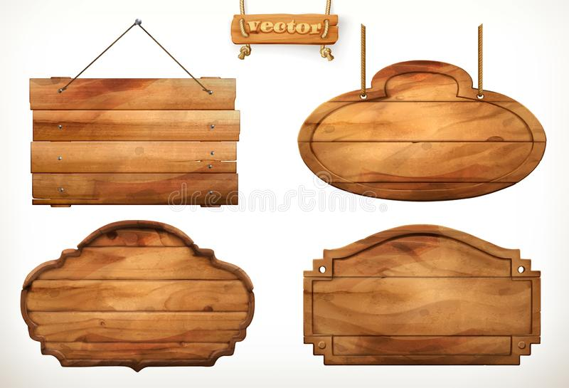 Wooden board, old wood vector set. On white background