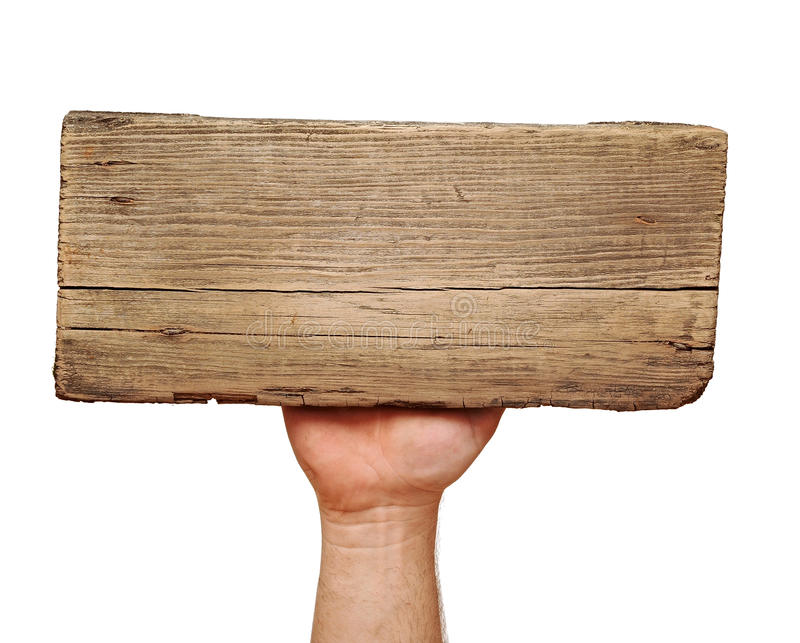 Download Wooden Board Sign On Hand Royalty Free Stock Photo - Image: 24973945