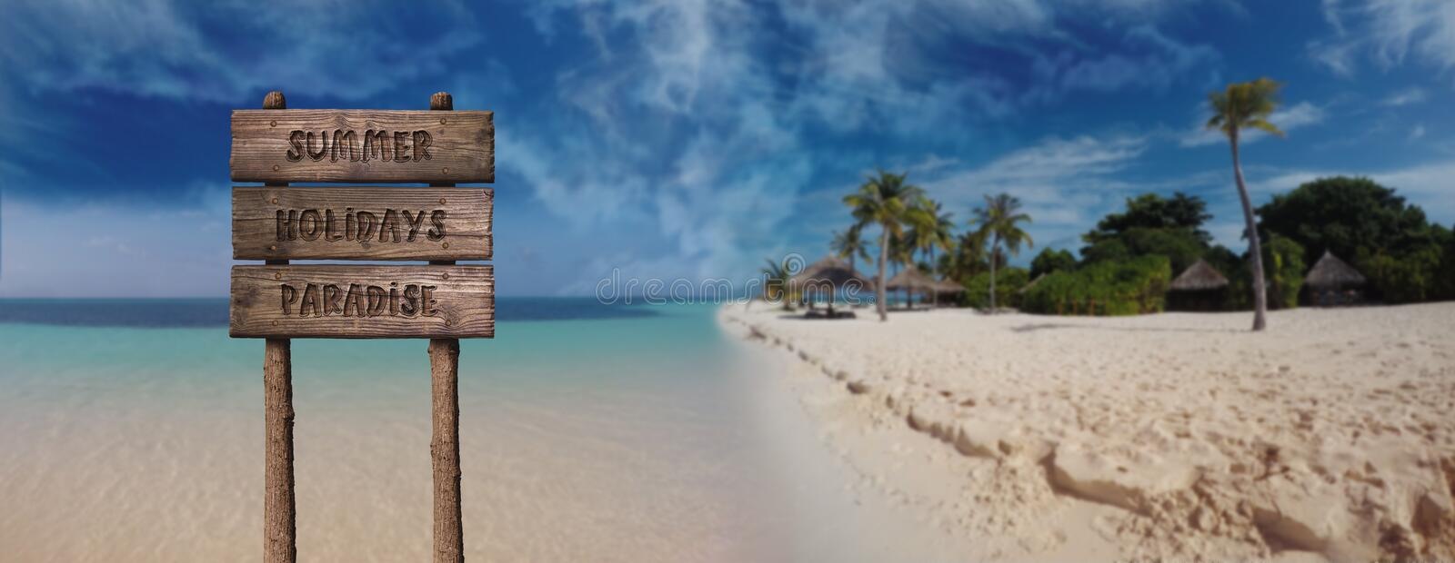 Summer Wooden Board Sign with Text, Summer Holidays Paradise At Beautiful Sandy Beach Tropical Island stock images