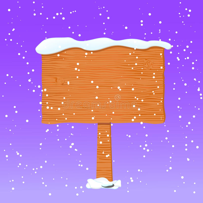 Wooden Board in White Snow vector illustration