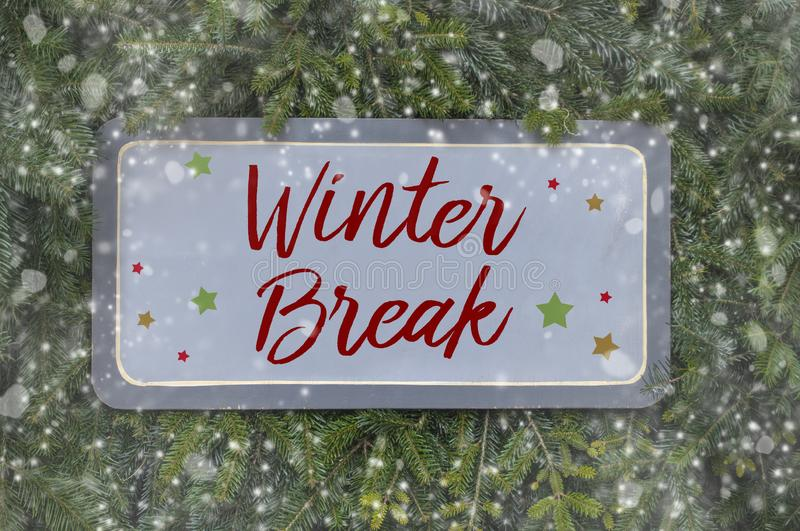 Wooden boards with winter break. Red and white wooden board with winter break royalty free stock images
