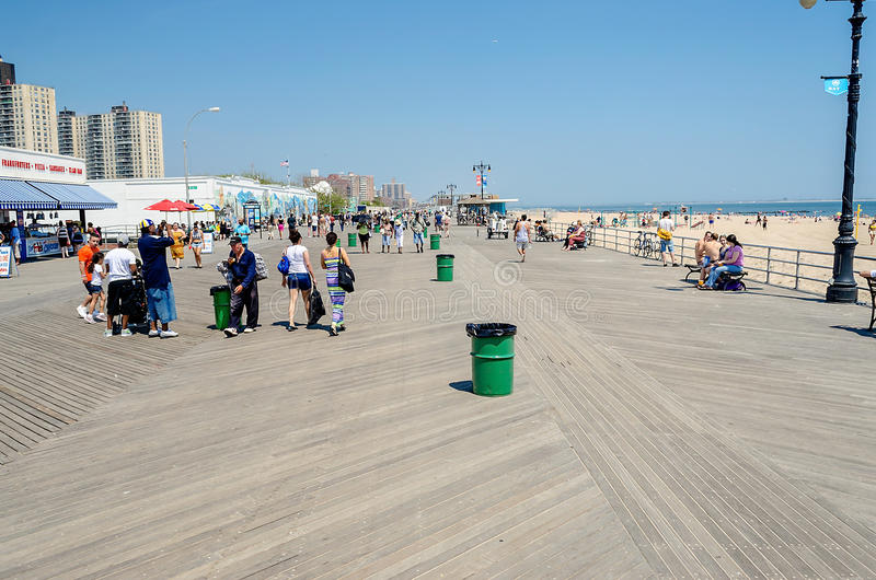 Wooden Boardwalk in Coney Island, NY royalty free stock photography