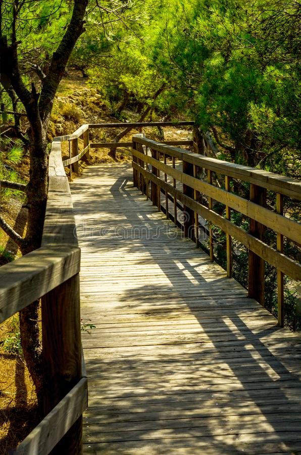 Wooden boardwalk leading to the sandy beach, the path by the sea stock image