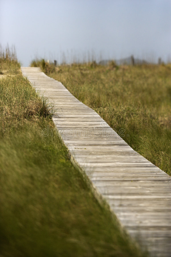 Wooden boardwalk to beach stock image