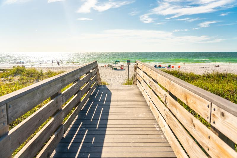 Wooden Boardwalk to Indian rocks beach in Florida, USA. Wooden path to Indian rocks beach in Florida, USA royalty free stock photos