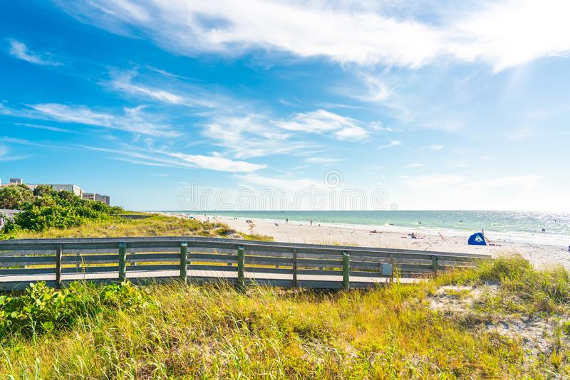 Wooden Boardwalk to Indian rocks beach in Florida, USA. Wooden path to Indian rocks beach in Florida, USA stock image