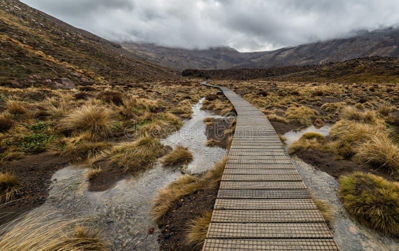 Wooden boardwalk in Tongariro national park stock image