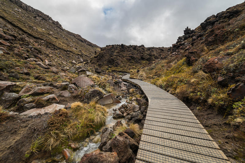 Wooden boardwalk in Tongariro national park royalty free stock photos