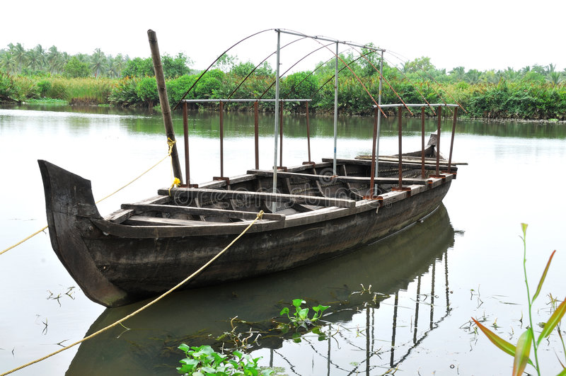 Download Wooden Boat stock photo. Image of kerala, green, landscape - 6233610