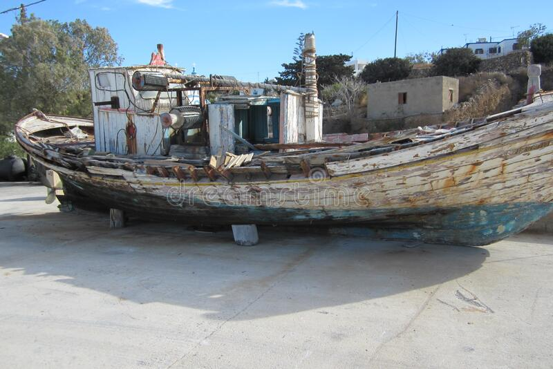 Wooden boat in dry dock royalty free stock images