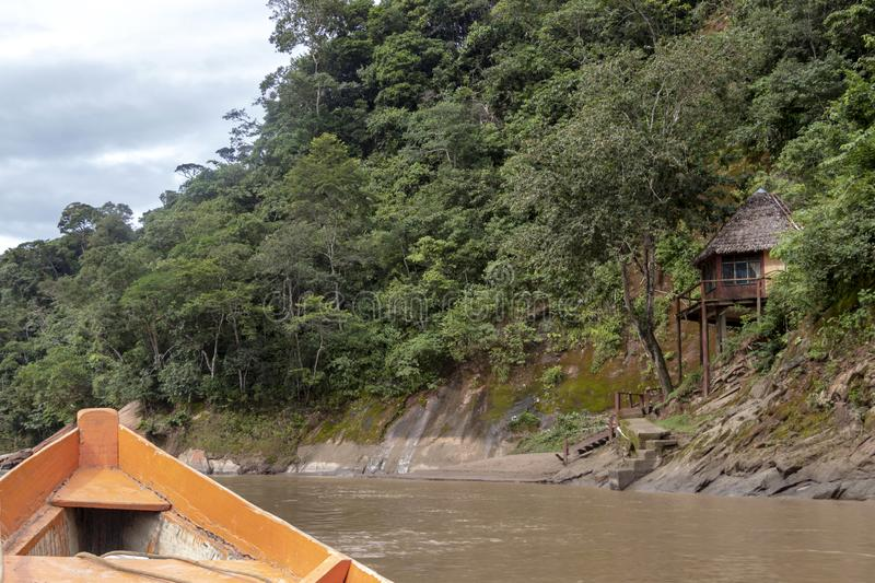 Wooden boat front and green jungle landscape, sailing in the muddy water of the Beni river, Amazonian rainforest, Bolivia. Contrast or orange wooden boat front royalty free stock photos