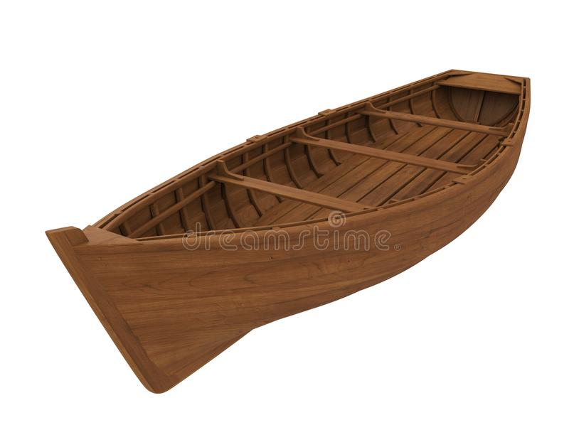 Wooden Boat Isolated. On white background. 3D render stock illustration