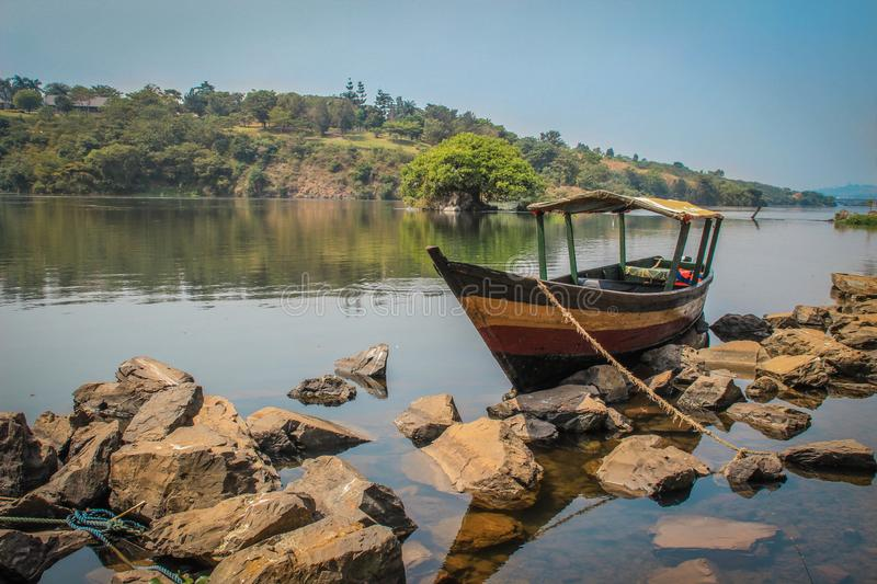Wooden boat on the Nile River stock image