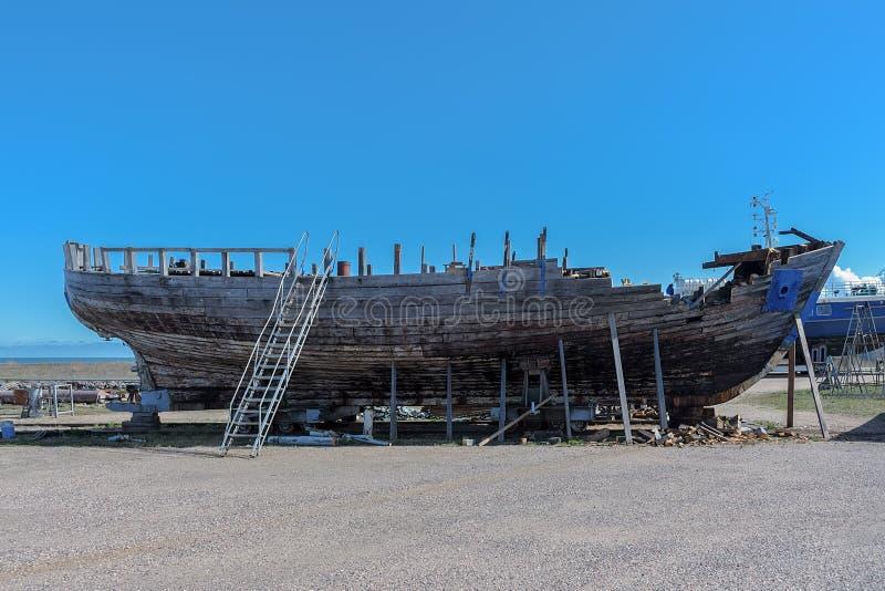 Wooden boat repair stock images
