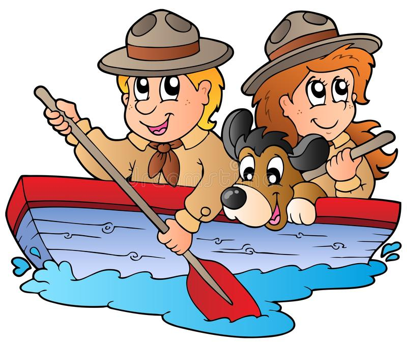 Wooden boat with scout boy and girl
