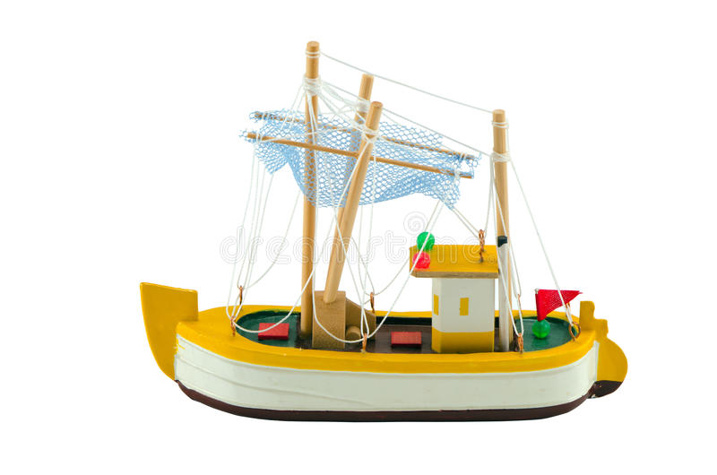 Wooden boat ship model isolated on white stock photos