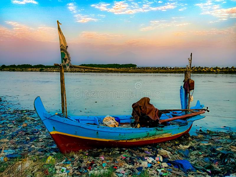 Wooden boat tradisional on baro beach. Water, natural, sky, sea royalty free stock photography