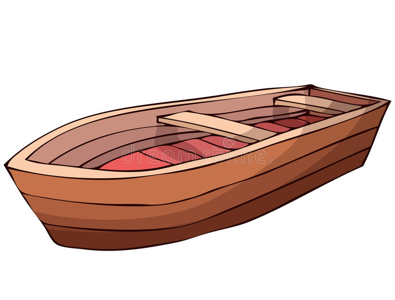 Wooden Boat Vector Illustration Isolated On White Background