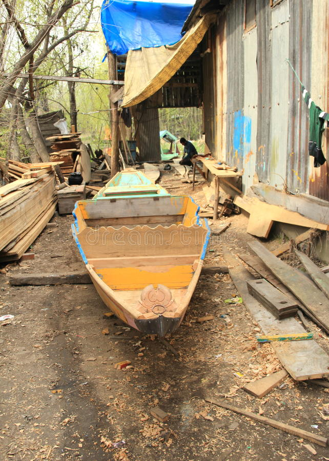 Wooden Boat Workshop In Kashmir. royalty free stock photos
