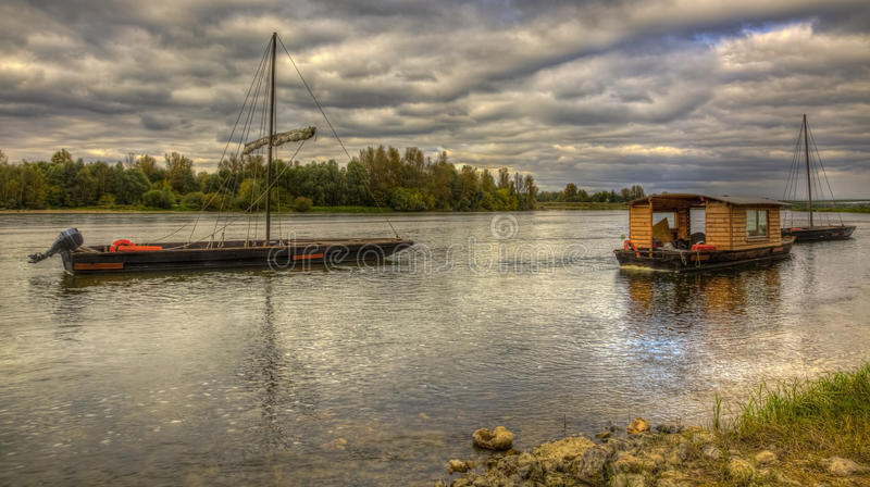 Wooden Boats on Loire Valley stock image