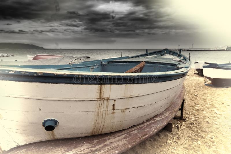 Wooden Boats. On the Mediterranean Coast in the Italian City of Cetara, Vintage Style Toned Picture, beach, sea, italy, coastline, cruise, dock, embankment royalty free stock images