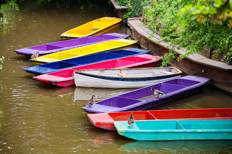 Wooden boats. Oxford, UK royalty free stock image
