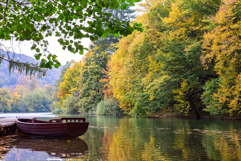 Wooden boats in Plitvice Lakes National Park royalty free stock photo