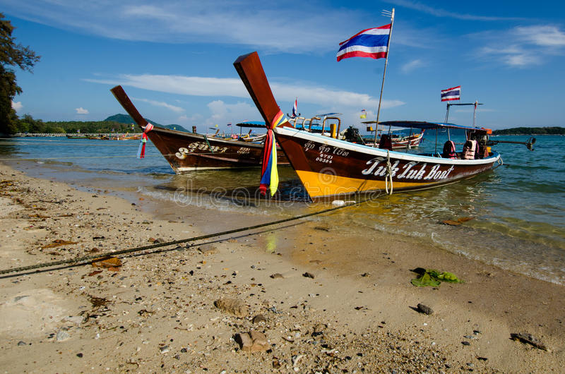 Wooden boats in Thailand stock photos