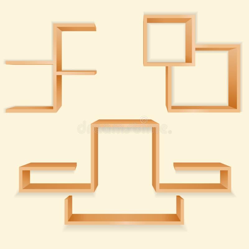 Wooden Book Shelf. Vectror illustration of a wooden book shelf royalty free illustration