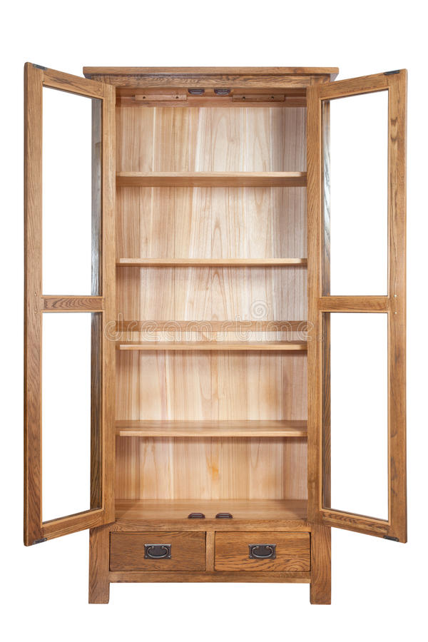 wooden bookcase stock image