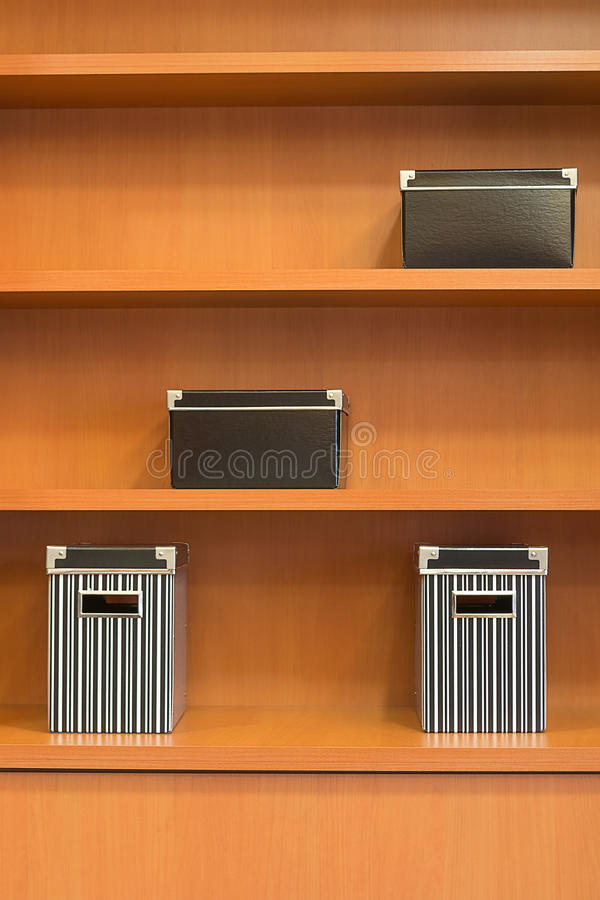 Wooden Bookshelf With Boxes Royalty Free Stock Photo