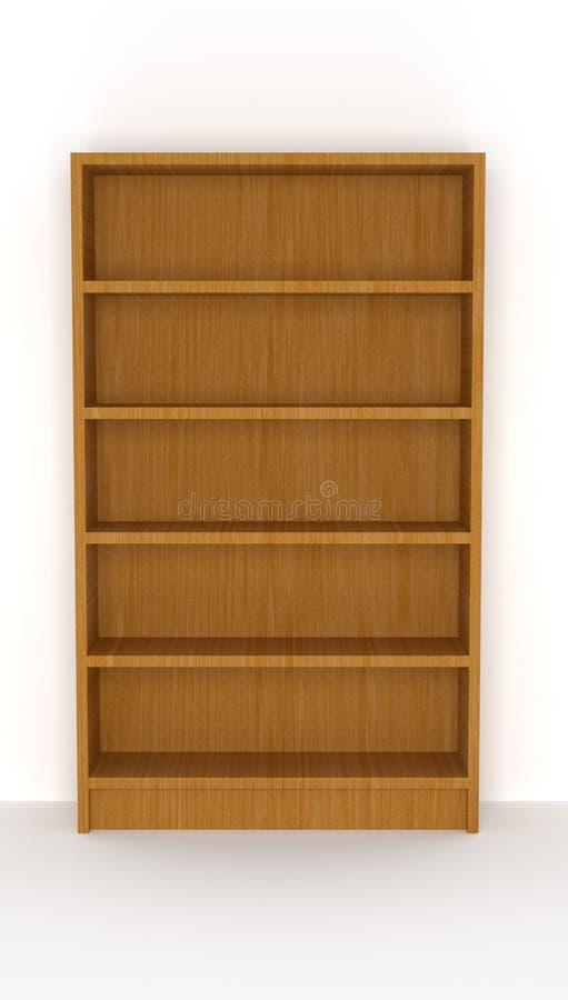 Wooden bookshelf stock illustration