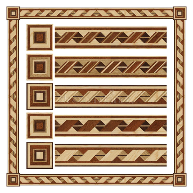 Wooden border ornament tape, design parquet floor stock image