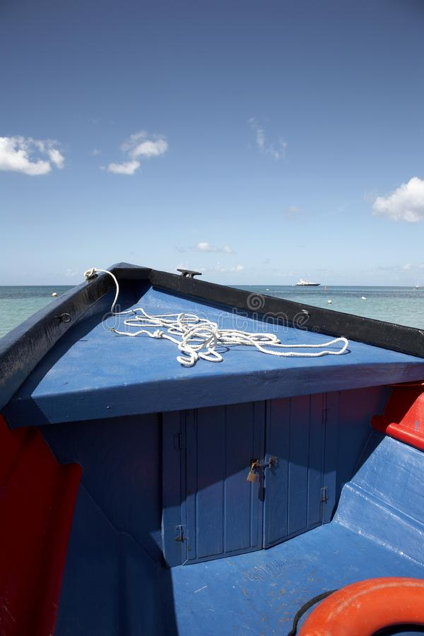 The wooden bow of a water taxi royalty free stock images