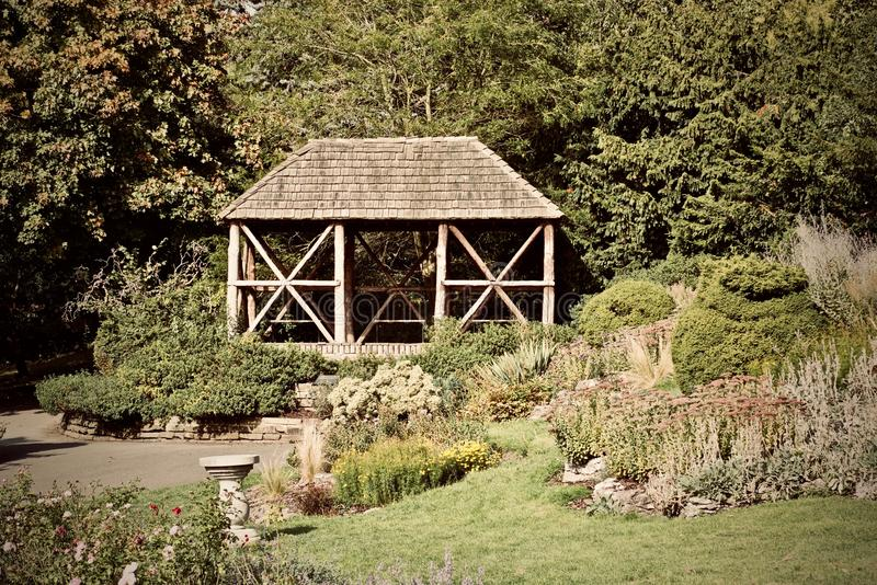 Bower in the park. Wooden bower in the park. Richmond upon Thames. Outdoor concept stock photo