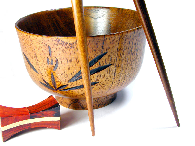 Download Wooden Bowl And Chopsticks Royalty Free Stock Image - Image: 123526