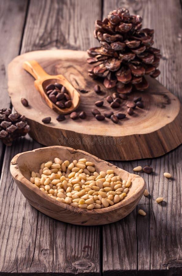 Peeled pine nuts stock image